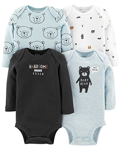 Carter's Baby Boys 4 Pack Bodysuit Set, Baby Bear, 18 ()