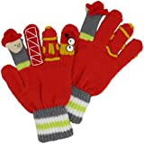Kidorable Fireman Knit Kids Gloves, Little Kids Small, Ages 3-5, Soft Red Acrylic Knit Winter Gloves, With Fire Fighter Finger Puppets