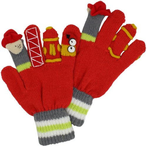 Kidorable Boys' Little Fireman Gloves, Red, Small (Ages 3-5 Years) ()