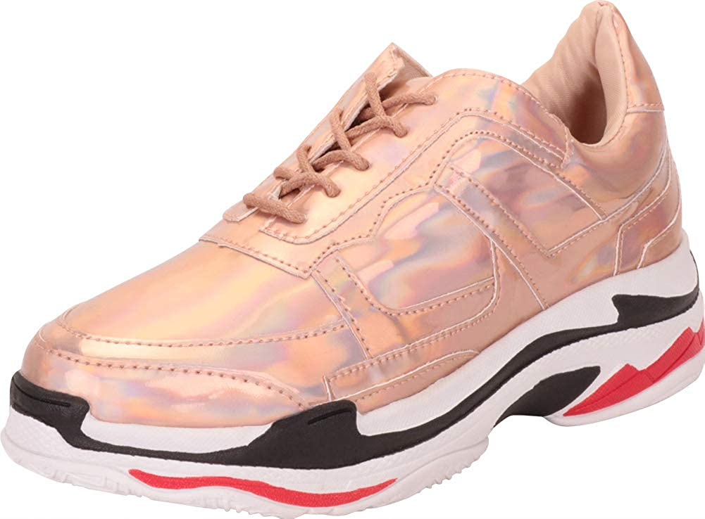 gold Hologram Cambridge Select Women's Retro 90s Ugly Dad colorblock Lace-Up Chunky Platform Fashion Sneaker