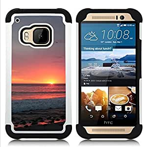 - sky summer sun orange clouds sea/ H??brido 3in1 Deluxe Impreso duro Soft Alto Impacto caja de la armadura Defender - SHIMIN CAO - For HTC ONE M9