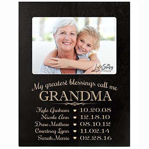 LifeSong Milestones Personalized Gift for Grandma Picture Frame with Children's Names and Kid's Birth Date Special Dates My Greatest Blessings Call me Grandma Holds 4x6 Photo (Black)