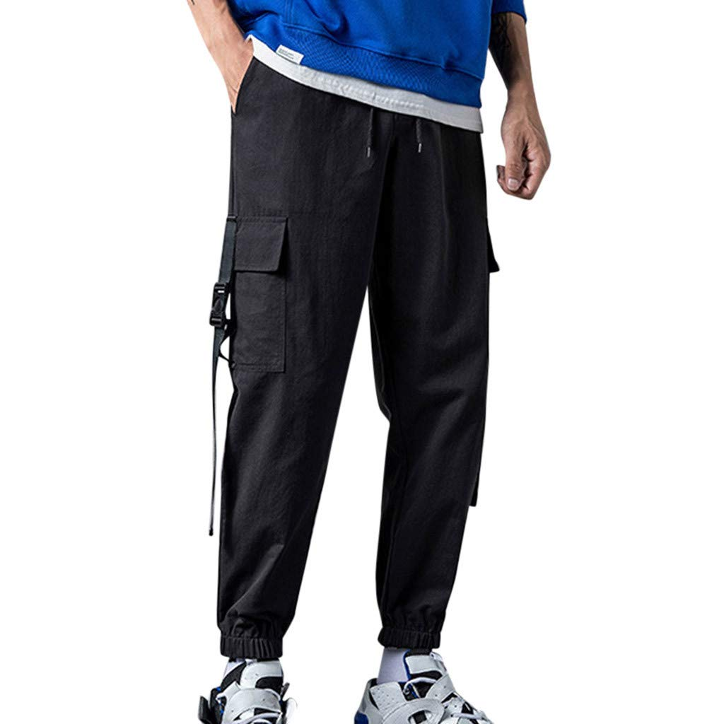 ZOMUSAR Men's Casual Fashion Loose Patchwork Pockets Overalls Sports Ankle-Length Pants for Men Black