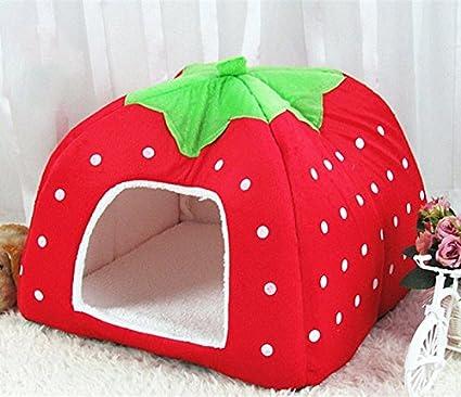 Cosanter Caseta de fresa suave cachemir Casa para mascota plegable suave cama para perro o gato