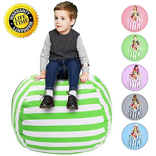 """WEKAPO Stuffed Animal Storage Bean Bag Chair for Kids   38"""" Extra Large Beanbag Cover for Child   48"""" Quality YKK..."""