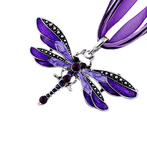 (AKOAK Fashion Creative Bohemian Jewelry Ethnic Multi-layer Chain Colorful Enamel Dragonfly Pendant Necklace(Purple))