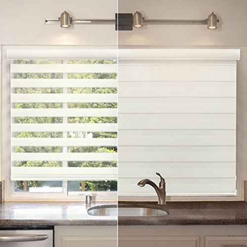 Chicology Free-Stop Cordless Zebra Roller Shades Dual Layer Combi Window Blind, 57'' W X 72'' H, Striped Dove (Dual Layer) by CHICOLOGY (Image #4)