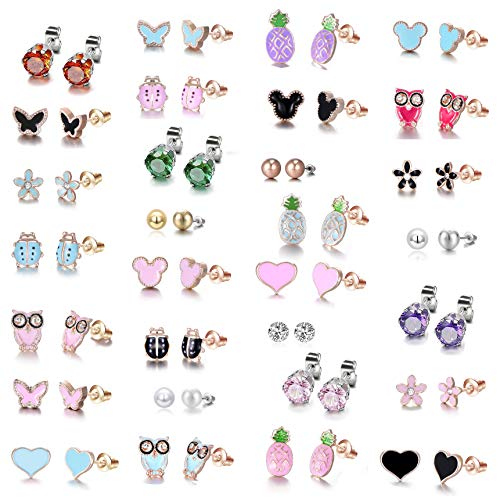 - Rose Gold Plated Stainless Steel Mixed Color Cute Pineapple Mouse Love Parrot Ladybug Stud Earrings Set