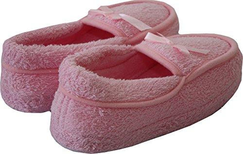 A&H Footwear  Toweling Mocc,  Mädchen Damen Flache Hausschuhe Rose