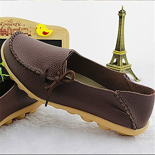 Women Shoes Coffee Girls Casual VAO Fashion Comfortable SDC179 Flats Shoes Large Size Women Beststore Breathable Flats up Lace Shoes Mother Leather wBSRIXBq
