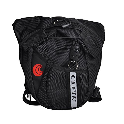 Milkee Nylon Polyester Black Sports Racing Drop Leg Bag Motorcycle Cycling Fanny Pack with Waist Belt Bike Hip Bag by Cyfie