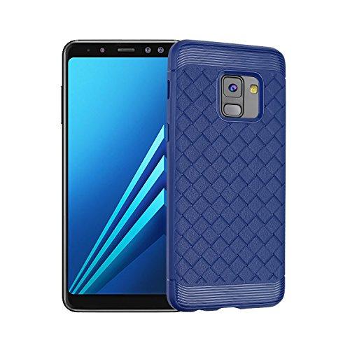 Durable patrón de TPU suave caso trasero para Samsung Galaxy A8 + (2018) ( Color : Gray ) Blue