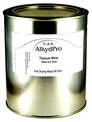 C.A.S. Paints AlkydPro Fast-Drying Oil Color Paint Can, 32-Ounce, Titanium White