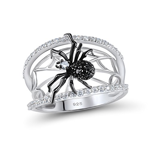 Silver Spider Ring Solid 925 Sterling Silver Black Spinel White Cubic Zirconia Stone (8) (Spider Black White)