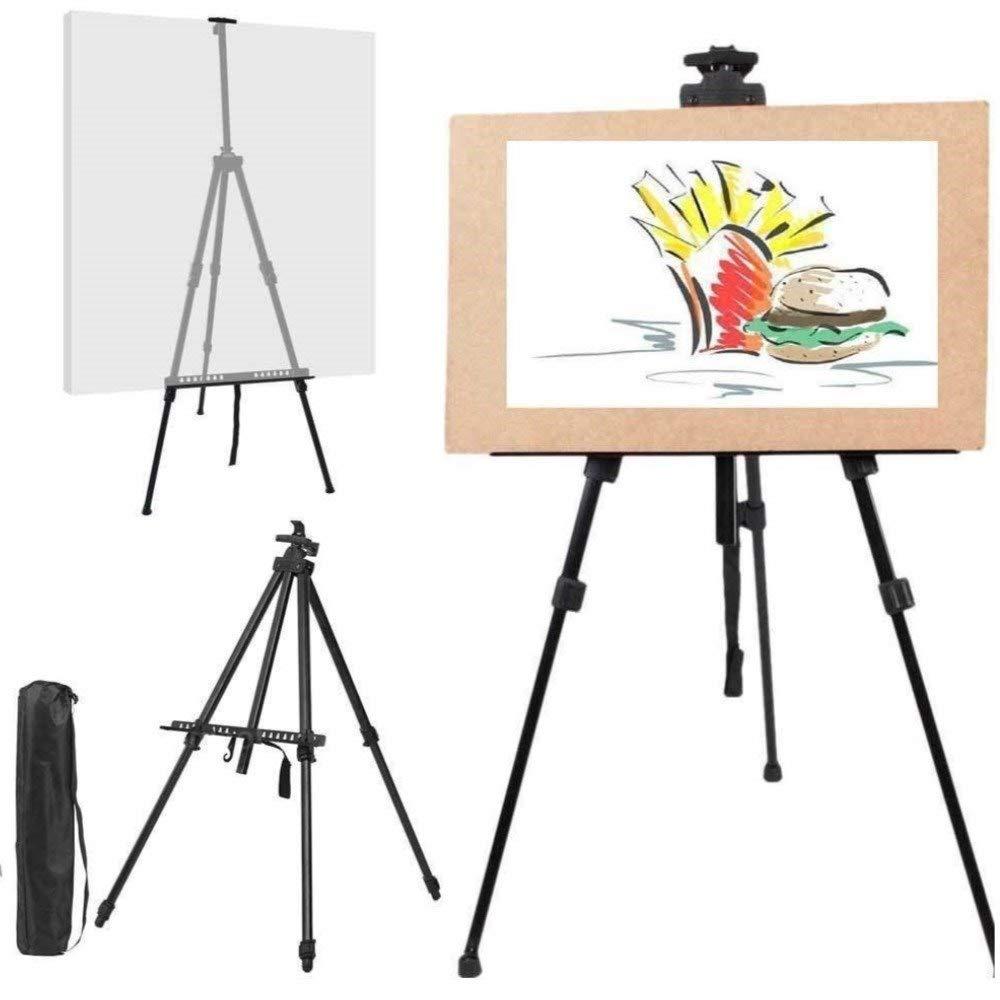 DOBO® Cavalletto da Disegno per pitturare Comodo treppiedi per Tableau Tela Pittura Dipinto treppiede con Custodia Morbida Nero