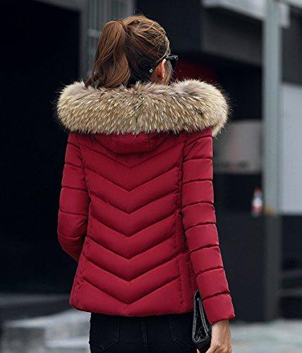 Rouge Fourrure Femme la Hiver Chaud Cintre Capuche Vin Court Doudoune Manteau Veste Femme Taille Magike avec Fausse 0dWqwSaS