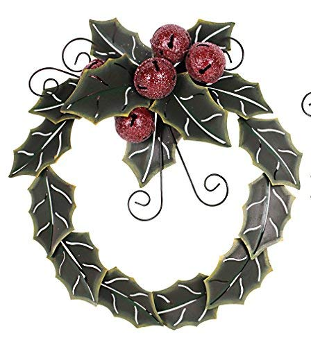 ACCENTHOME Green Metal Holiday Holly Leaves with Red Jingle Bells Metal Wreath Christmas Door Wreath Decor ()