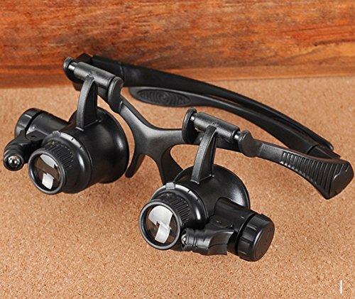 Leeko 4 mods 10x 15x 20x 25x ABS lupen brille , brillenlupe mit LED licht
