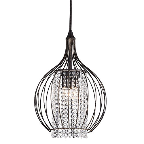 Edvivi 3-Light Antique Bronze Metal Bell Shade Pendant Chandelier Fixture with Strands of Crystals Modern Farmhouse Lighting