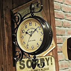 Ustide Double-sided Clock European Retro Nostalgic Wall Hanging Decorations Wrought Iron 8-inch