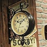 Ustide Double-sided Clock European Retro Nostalgic Wall Hanging Decorations Wrought Iron 16-inch