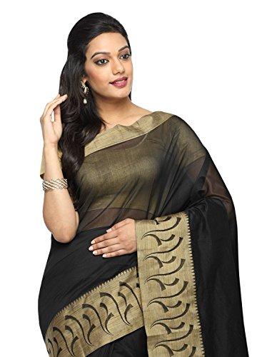Pavecha's Women's Banarasi Silk Cotton Blend Zari Casual Saree Free Size Black by Pavecha's (Image #1)