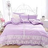 FADFAY Home Textile,Beautiful Korean Lace Bedding Sets,Luxury Girls Lilac Purple Lace Ruffle Bedding Sets,Romantic Princess Wedding Bedding Set,Girls Fairy Bedding Sets 9 Pcs Full