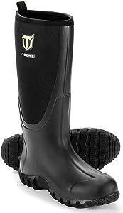 TIDEWE Rubber Boots for Men Multi-Season, Waterproof Muck Rain Boots with Steel Shank, 6mm Neoprene Durable Rubber Neoprene Outdoor Hunting Boots Realtree Edge Camo (Black, Brown & Camo)