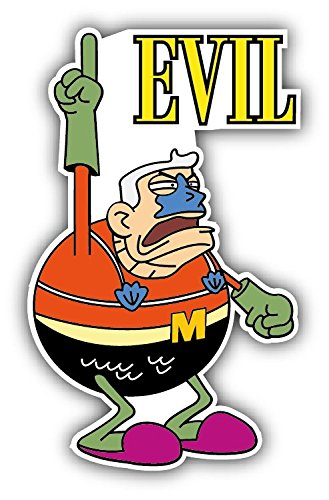 cartoon Spongebob Mermaid Man Evil Car Bumper Sticker Decal - Longer Side 14'' -