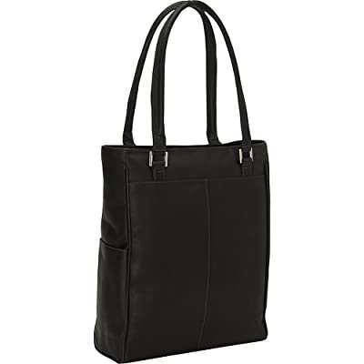Piel Leather Vertical Laptop Tote, Black, One Size