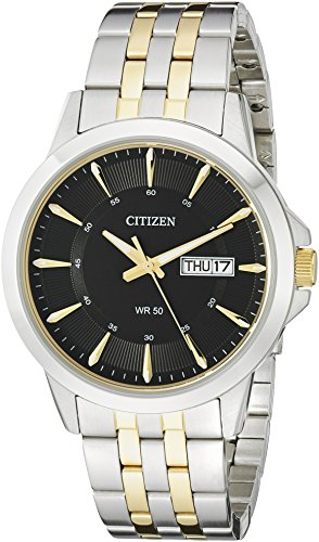 Citizen Men's Quartz Stainless Steel Watch with Day/Date, - Watch Bracelet Mens Two Tone Citizen