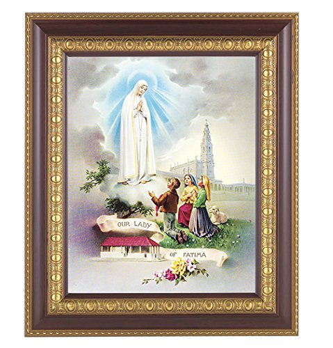 (2 7/18) Our Lady of Fatima Italian Lithograph in Fine Detailed Cherry Gold Colored Frame Frame 10x12 126-213