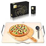 Delizio Pizza Stone - Baking Stone Set | Rectangular 38x30x1.5cm | Perfect for Oven, BBQ and Grill | with Bamboo Peel, Chrome Rack, Pizza Cutter | Ideal for Pizza, Bread, Cookies | E-Book Included