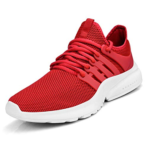 domirica Men's Walking Shoes Mesh Casual Athletic Running Sneakers Lightweight Breathable Fashion Shoes Red/White 10 M US