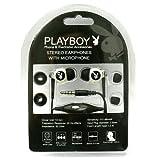 Playboy Accessories Earphones Playboy Comfort Plus Earphones Black w/White Bunny (Mic)