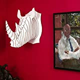 Cardboard Safari | Cardboard Rhino Taxidermy Art 3D Model Puzzle | SFI Certified Recycled Cardboard| Made in the USA | Robbie (Large, White)