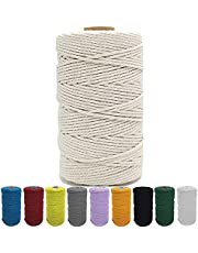 3MM x 109 Yard Macrame Cord, Natural Cotton Macrame Rope, Twisted Cotton Cord for Wall Hanging, Plant Hangers, Crafts, Gardenring, Decorative Projects