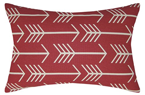 JinStyles Arrow Cotton Canvas Lumbar Decorative Throw Pillow Cover (Christmas Red and White, 12 x 18 inches)
