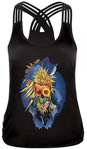 Thenice Women's Halloween Harness Kreuz T-Shirt Vest Tops (XL, Chrysanthemum Skeleton) -