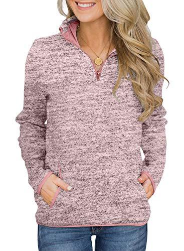 AlvaQ Women Ladies Winter Casual Long Sleeves Quarter 1/4 Zip Fleece Pullover Sweatshirts with Pockets Pink Medium