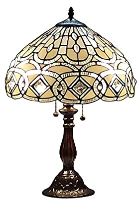Amora Lighting Tiffany Style AM021TL14 21-inch Geometric Table Lamp White