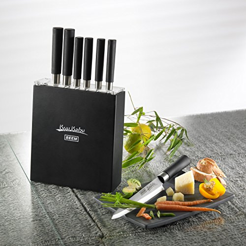 -[ BEEM Germany 7 knives and 1 block Kyu Kabu Knife Set, Black  ]-