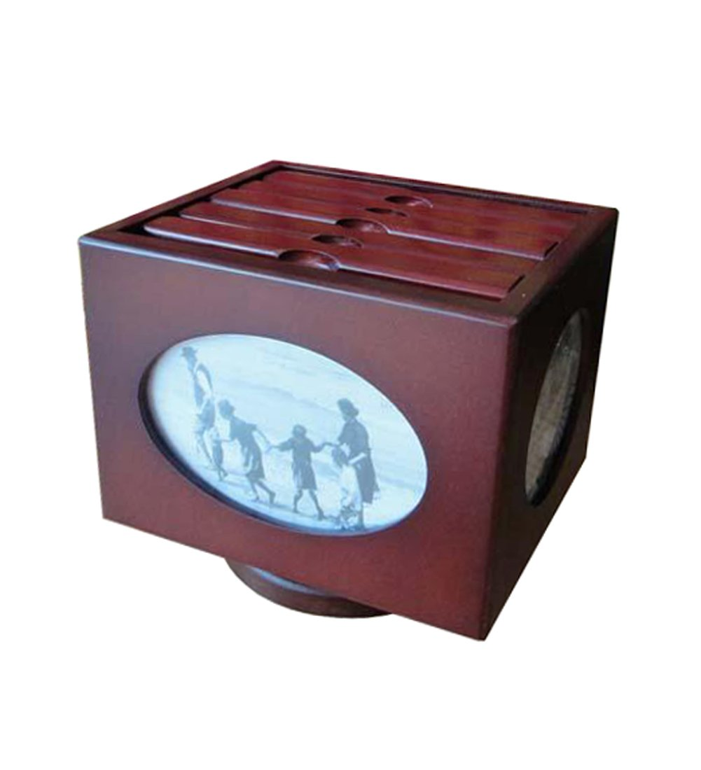 ZENGAI Wooden Photo Album Box Wooden Storage Box Photo Album Rotating Creative Gift