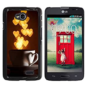 For LG Optimus L70 / LS620 / D325 / MS323 Case , I Love Hearts Cup Gold Lights - Diseño Patrón Teléfono Caso Cubierta Case Bumper Duro Protección Case Cover Funda