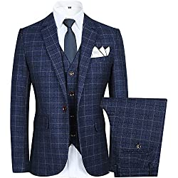 Men's Slim Plaid Modern Fit One Button 3-Piece Suit Blazer Dress Suit Jacket Tux Vest & Trousers (XXXL, blue)