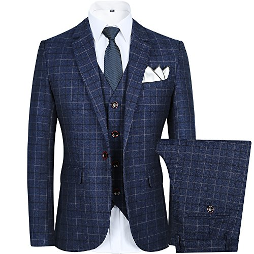 Blue Plaid Suit (Men's Slim Plaid Modern Fit One Button 3-Piece Suit Blazer Dress Suit Jacket Tux Vest & Trousers (M, blue))