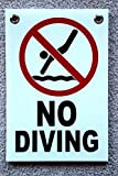 1Pc Lavish Unique No Diving Symbol Signs Beach Board Plastic Coroplast Risk Swiming Pool Poster Danger Keep Allowed Pools Decor At Your Own Pond Lifeguard On Duty Swimming SignSize 8''x12'' w/ Grommets