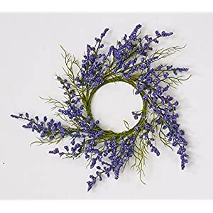 "Worth Imports 1114PU Purple Flower Candle Ring 3.25"", 2 Piece 20"
