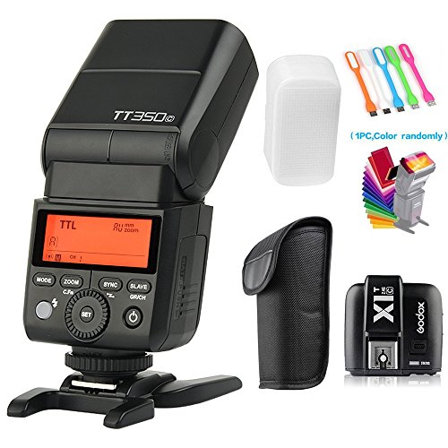 Godox TT350C TTL GN36 2.4G Wireless Flash Speedlite Light High-Speed Sync 1/8000s +X1T-C Remote Trigger Transmitter for Canon Camera +Filters & USB LED Free Gift by SUPON