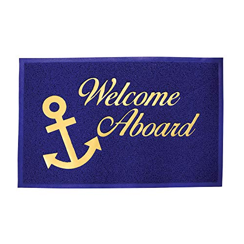 Lalizas PVC Welcome Mat, 23.6 x 35.4-Inch, Blue with golden Text
